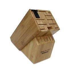 16 Slot Bamboo Universal Knife Block With Knife Sharpener