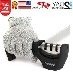 2-in-1 Kitchen Knife Accessories: 3-Stage Knife Sharpener He