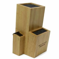 2 Tier Universal Bamboo Knife Block With Knife Sharpener