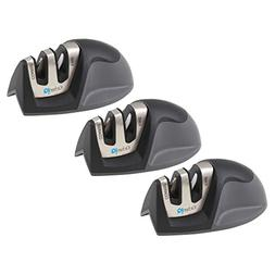 KitchenIQ Black Edge Grip 2 Stage Knife Sharpener, Set of 3