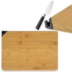 #1 Chefs Culinary Bamboo Wood Cutting Board with Knife Sharp