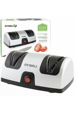 electric knife sharpener featuring automatic blade positioni