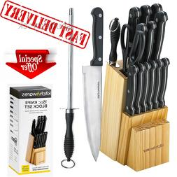 Kitchen Knife Set Block Stainless Steel Chef Sharpener Shear