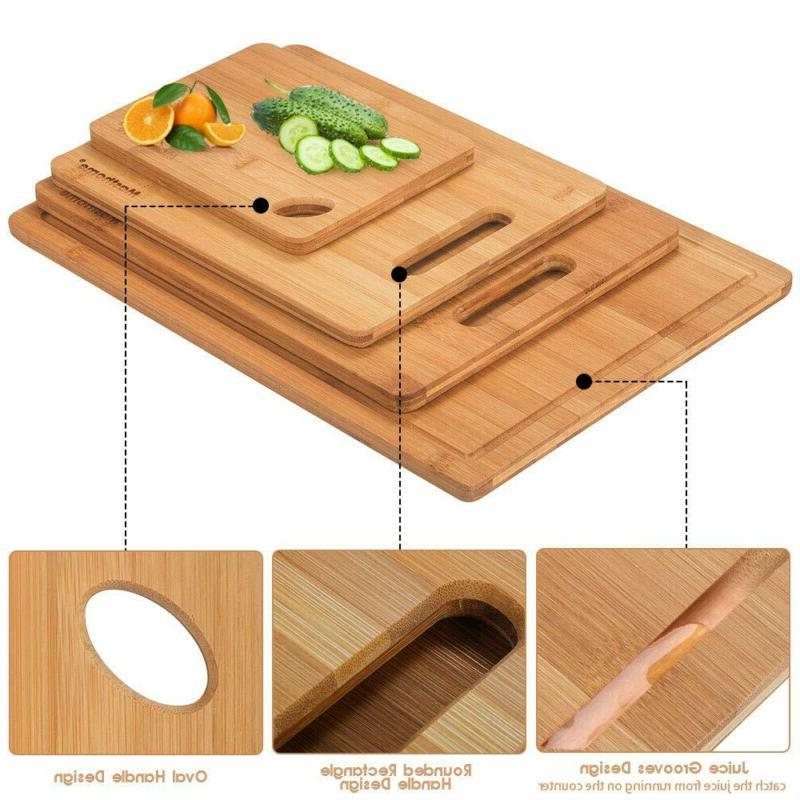 Bamboo Board Food Sharpener Fruit Wood Set Size