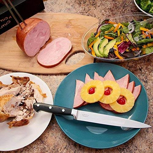 A Carving Knife Set, Extended Fork Holds Turkey, Securely, Inch Steel Slices Cleanly, Won't Shred- Dinner Like Chef