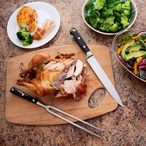 A Cut Carving Set, Extended Fork Largest Turkey, Roast or Securely, 8 Inch Steel Blade Slices Won't Shred- Your Dinner Like A Pro Chef