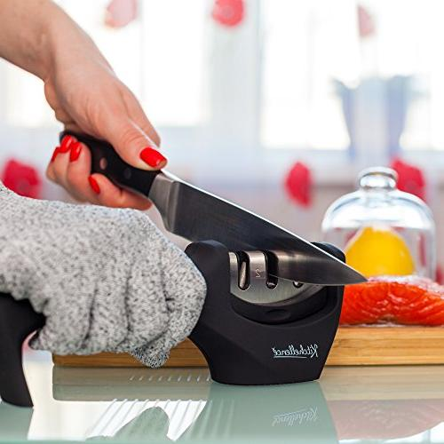 Kitchen Knife Sharpener 3-Stage Sharpening Tool Helps Repair, Polish Blades Glove Included