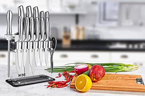 DEIK Knife Carbon Knife Super Sharp Cutlery Knife Set with Acrylic and Steak