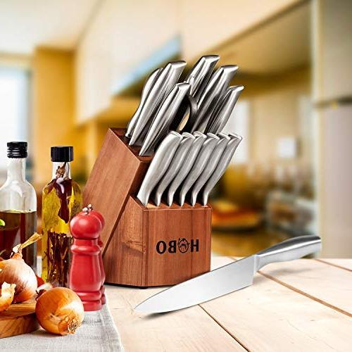 HOBO with with Wooden All-purpose Scissors Sharpener Stainless Steel Cutlery Silver