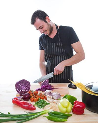 Caesar Chef Professional Knife and Sharpener Set - Ultra Sharp High Carbon Stainless Steel Kitchen Knife with Handle dice, and All Foods Ease