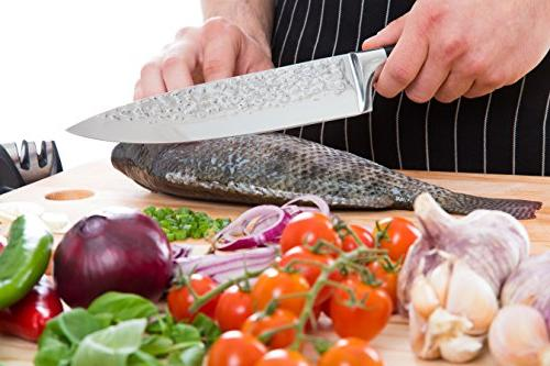 Caesar Chef Knife - Ultra Sharp High Stainless Kitchen Knife Handle dice, chop All Foods with Ease