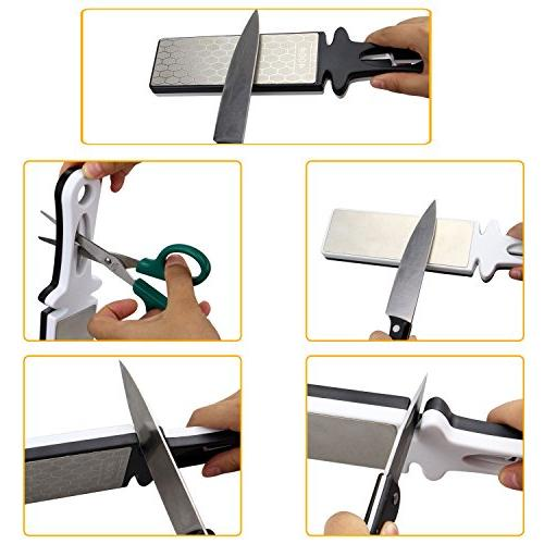 Sungwoo Knife Sharpener Handheld 400/1000grit Double Diamond Sharpening Knife Scissor