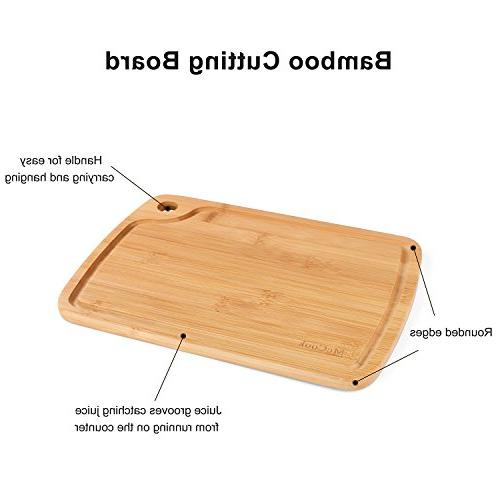 McCook 16 FDA Rivet Set in Bamboo Block Built-in Sharpener Bonus Cutting Board,
