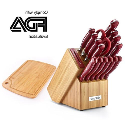 McCook MC34 16 FDA Certified Triple Rivet Knife Set Bamboo Block with Sharpener Cutting Board,