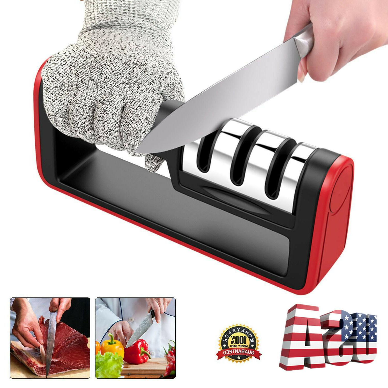 KNIFE SHARPENER Kitchen Knives Blade Sharpening Tool 3 Stage