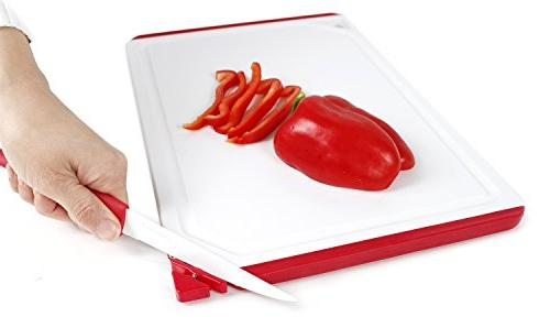 Neoflam Board Red Built-in Sharpener - BPA Free, Non Slip, Dishwasher Microban Antimicrobial Protection