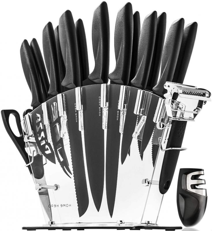 stainless steel knife set with block 13