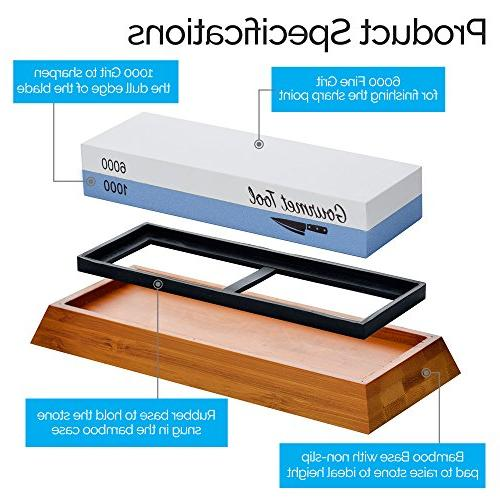 Professional Stone - Side Grit Waterstone - Japanese Sharpener Includes Bamboo Angle Guide, Stone and