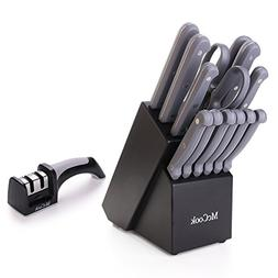 McCook MC32S 15 Pieces FDA Certified Knife Block Set with Al