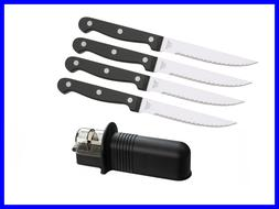 NEW 4pcs Steak Knives with Serrated Blades Stainless Steel a