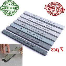 Set Of 7 Professional Silicon Carbide Whetstone Knife Sharpe